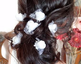 White  Rose Wedding Hair Pins, White Bridal Hair Pins, Hair Accessories, Bridesmaid Hair, Bridal Hair Pins, Woodland - Set of 6