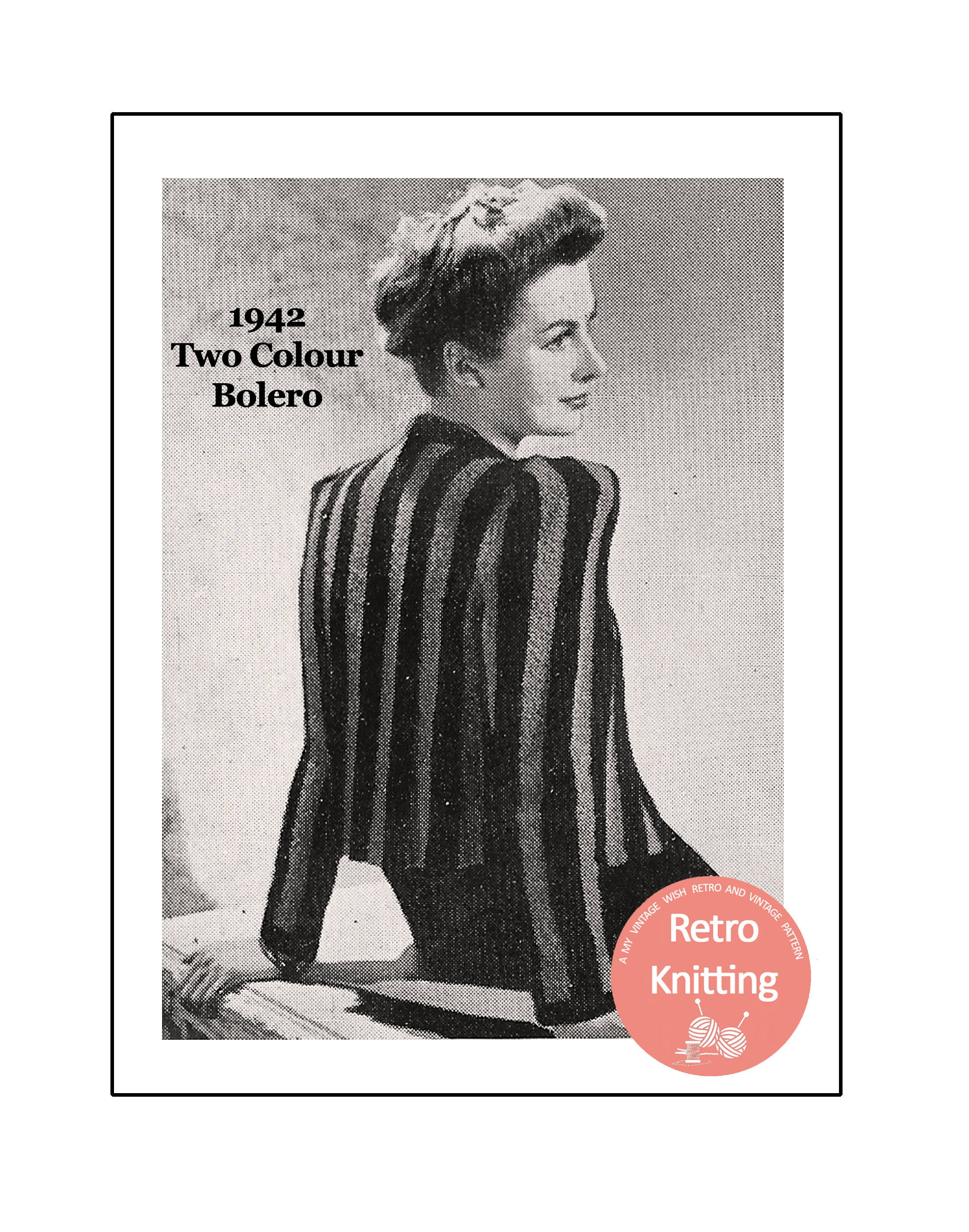 1940s Wartime Boucle Bolero Knitting Pattern - Instant Download from ...
