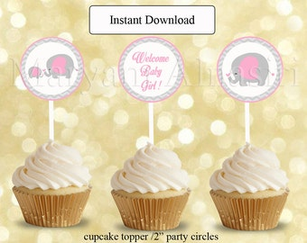 pink elephant chevron baby shower,Cupcake Toppers,favor bag tags, instant download