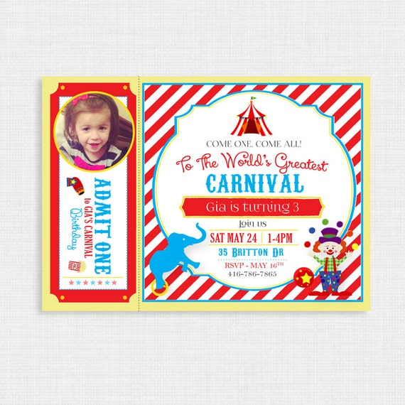 Printable Birthday Invitation- Carnival Birthday Invitation, Circus Birthday Party Invitations, DIY,  Printable Template, Digital