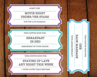Printable Coupons / Tickets / Vouchers - DIY Printable Microsoft word file to make your own tickets