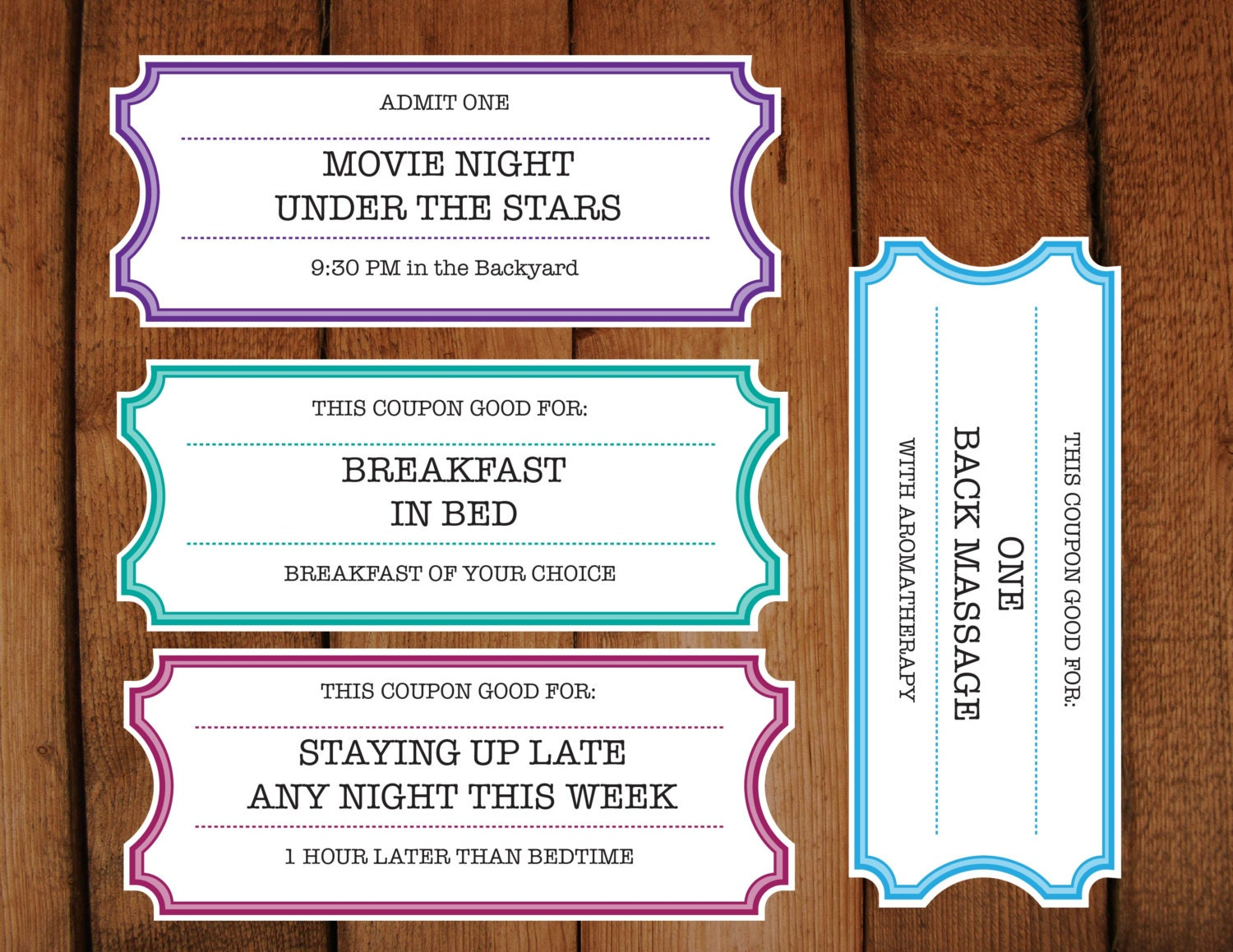 Printable Coupons Tickets Vouchers DIY Printable