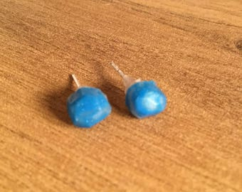 Blue quartz clay stud earrings