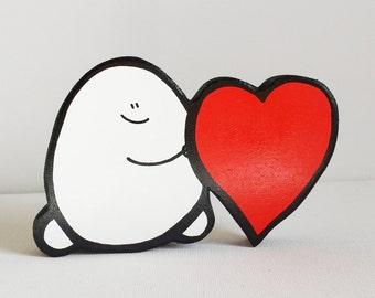 Wooden Chep & Heart - A Handcut, Painted Wooden Ornament