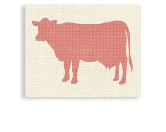 Kitchen Art, Cow Art, Animal Art, Cow, Kitchen Poster, Custom Colors Available
