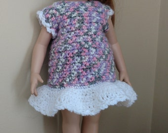 "Doll Dress for 18"" Doll, American Girl, Crocheted Doll Dress, Spring/Summer Dress for Doll, Country Goods"