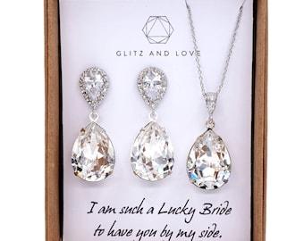 Bridesmaid Earrings Necklace Set, Bridesmaid Jewelry Set, Personalized bridal shower gifts idea, Wedding Jewelry, Swarovski crystal, sandra
