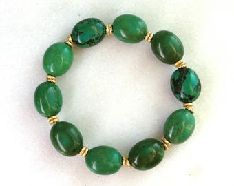 Little Luxe Simple Stacking Stretch Bracelet in Polished Green Turquoise and Vermeil...