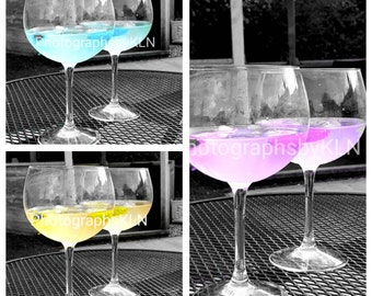 Funky Gin Glasses Black and White Colour Pop Photographs (Set of 3)