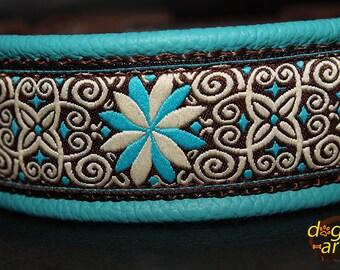 "Dog Collar ""Pinwheel Zinnia"" by dogs-art, teal dog collar, fancy dog collar, leather dog collar, boy dog collar, girl dog collar, zinnia"