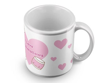 I love marshmallows mug - sweets with faces kawaii fairy kei pop tee top chibi candy