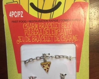 girls fast food charm bracelet pizza, french fries, and burger