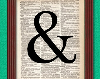 BUY 2 GET 1 FREE Ampersand Dictionary Art Print Typography Font Words Punctuation Decor Wall Vintage Digital Collage Book