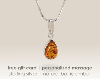 Amber drop Pendant Necklace,Sterling Silver,Amber Jewellery,Real Amber Jewelry,Gift Jewelry,Bernstein,Baltic amber jewelry