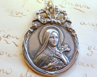 St Therese of Lisieux Medal - The Little Flower - Antique Reproduction