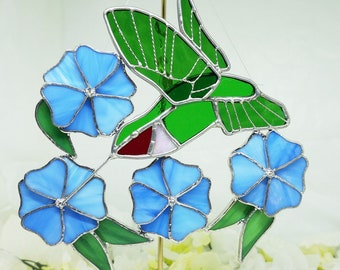 Stained Glass; Hummingbird Sun Catcher; FREE SHIPPING !!!