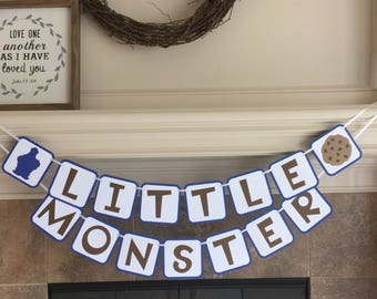 Cookie Monster Banner - Sesame Street Party - Little Monster Cookie Monster Baby Shower - First 1st  Happy Birthday Baby Shower Decorations