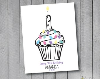Personalized Birthday Cupcake Thumbprint Guestbook Poster - Fingerprint Sprinkles