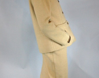 Vintage 1960s MAD MEN Spotted Cat Collar & Camel Suit/ Jacket