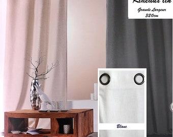 WHITE linen curtain has EYELETS high rise: 320CM width 140cm