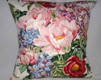 Throw Pillow Cover | Waverly Polished Cotton Roses Plaid fabric | Decorative Home Accessory
