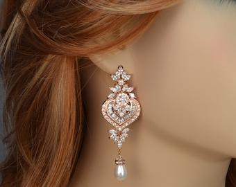 Rose Gold Tone Bridal Chandelier Earrings, Cubic Zirconia Crystals, Swarovski Drop Pearls, Vintage Style, Silver, Gold Tone, Sammy Earrings