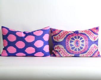 Ikat velvet pillow cover with silk ikat backing Handwoven & handdyed // Pink purple white lumbar decorative pillow