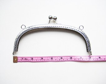 20 cm 8 inch shiny silver purse frame  antique bag handle fastening hardware kiss lock clasp snap sew holes for diy knit crochet sew craft