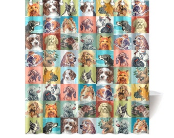 Novelty Paint By Number Dogs Shower Curtain - pbn dogs - vintage paint by number