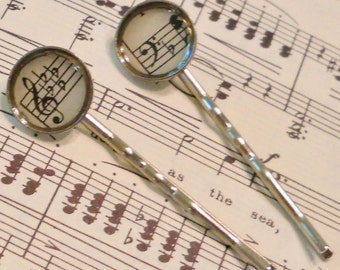 Music Hair Clips: Antique Paper Sheet Music Bobby Pins, Birthday Gift for Her, 1 Year 1st Anniversary, Music Lover; Clef Jewelry, Silver