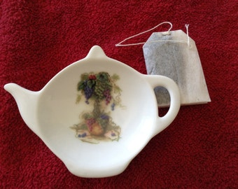 Ceramic Teabag Holder  Tree of Grapes 4.5""
