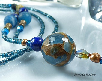 Blue Brown Boho Beaded Lanyard 32 Inch Teacher Gift Office Gift Handmade Lariat ID Holder Gemstone Beads Free USA Shipping Secret Santa OOAK