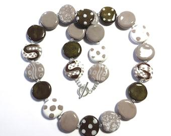 Kazuri Bead Necklace,  Chunky Necklace, African Design Beads, Ceramic Necklace