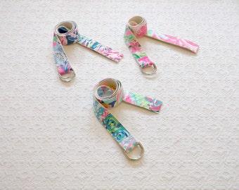 Preppy Patchwork Lilly Pulitzer Fabric Scraps Belt in Asst Colors