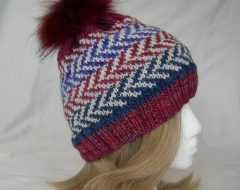 Kinetic Color Fair Isle beanie hat hand knit cashmere silk merino blend luxury yarn winter hat fur pom pon hat