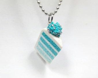 Blue Ombre Cake Charm, Cake Necklace, Layered Cake, Blue Cake Charm, Food charms, Miniature Food Jewelry, Cake necklace, Cake jewelry