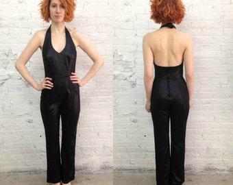 vintage 80s stretchy black catwoman halter top jumpsuit / tight black cat suit