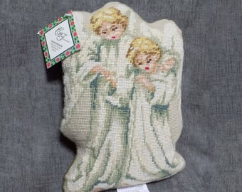 """Needlepoint Throw Pillow Stuffed Cushion 2 Blonde Child Angels in White Robes w Feather Wings Heavenly Guide Bucilla Wool Tapestry 9"""" x 13"""""""