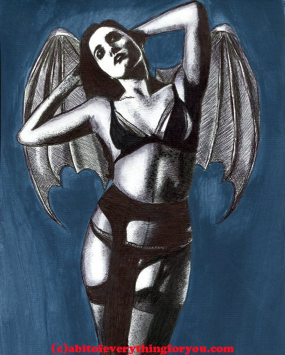 vampire bat woman original art drawing ink acrylics tattoo art black and white modern erotica artwork By Elizavella