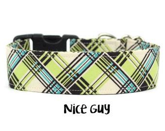 Boy Dog Collar, Green Plaid Dog Collar, Blue Plaid, Plaid Dog Collar, Preppy Dog Collar, Cute Collar (Upgrade to Metal Buckle or Martingale)
