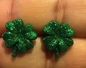 Glittery Four Leaf Clover Earrings   AI13
