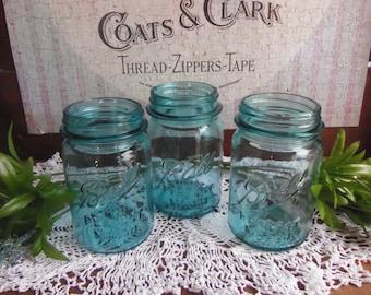 3 Vintage Pint Aqua Blue Ball Perfect Mason Jars NO LIDS