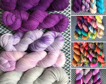 Hand-dyed yarn, Indie dyed yarn, hand dyed yarn FADE SETS -- ready to ship -- Fingering sock weight yarn for fade designs