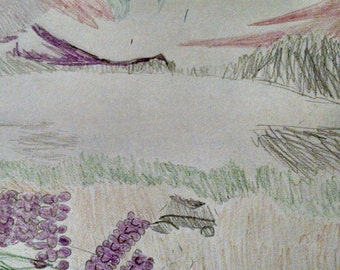 "Dusk Over Lake - Original Colored Pencil Sketch, 9"" x 12"""