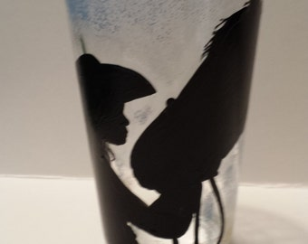 Cowgirl and her horse drinking glass