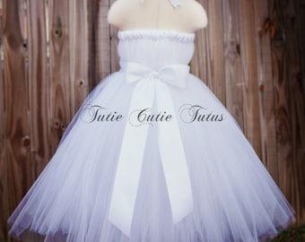 Robe Tutu blanc élégant avec large blanc Satin Sash NB-8