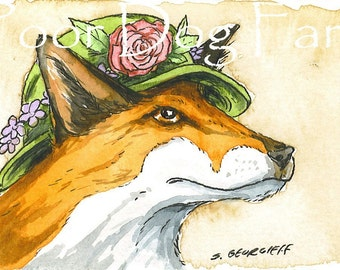 ACEO signed PRINT - Ms.Fox in a hat