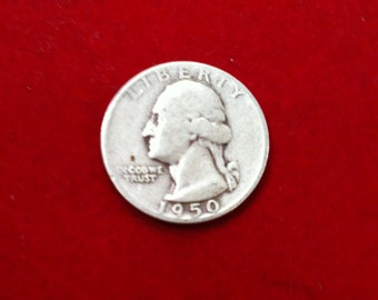 "Vintage Silver Coin Quarter Dollar ""1950"" Liberty United States Of America,( 2 Coin Available)"