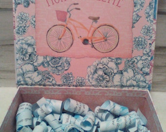 """Bicycle Gift, Decorated Boxes, Pink Bike with a Basket, Flip Top Box """"Growing up ME! Memory Compendium©"""" Mary Lynn Savko RoadSideBoutique"""