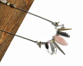 Rose quartz necklace silver unique necklaces for women rose quartz statement necklace stone spike necklace crystal statement necklace